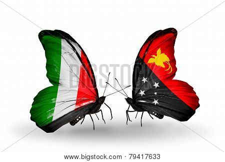 Two Butterflies With Flags On Wings As Symbol Of Relations Italy And Papua New Guinea