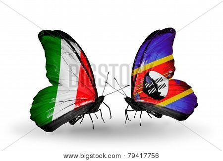 Two butterflies with flags on wings as symbol of relations Italy and Swaziland