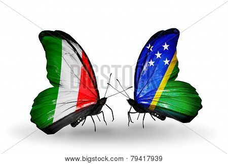 Two Butterflies With Flags On Wings As Symbol Of Relations Italy And Solomon Islands