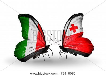 Two Butterflies With Flags On Wings As Symbol Of Relations Italy And Tonga