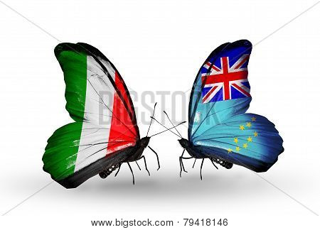 Two Butterflies With Flags On Wings As Symbol Of Relations Italy And Tuvalu