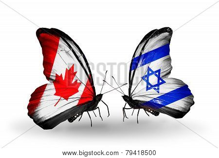 Two Butterflies With Flags On Wings As Symbol Of Relations Canada And  Israel