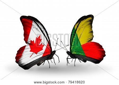 Two Butterflies With Flags On Wings As Symbol Of Relations Canada And Benin