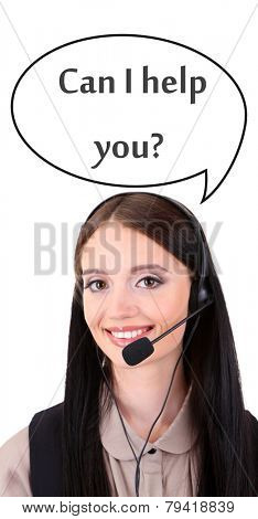 Call center operator and Can I help you? text in cloud, isolated on white