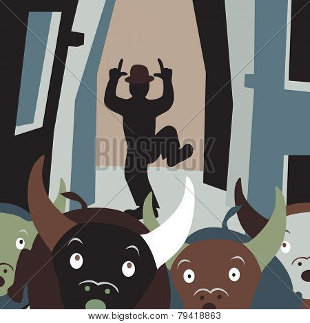 Editable vector cartoon illustration of bulls running away from a man in a street festival
