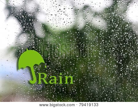 Water drops background with umbrella sign