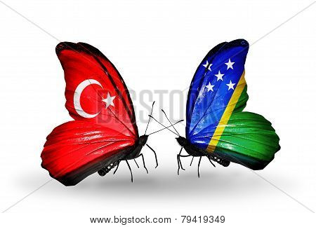 Two Butterflies With Flags On Wings As Symbol Of Relations Turkey And Solomon Islands