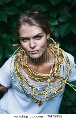 Blond Woman With Golden Headband