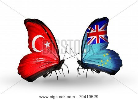 Two Butterflies With Flags On Wings As Symbol Of Relations Turkey And Tuvalu