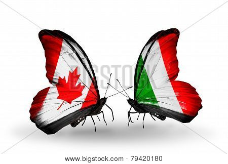 Two Butterflies With Flags On Wings As Symbol Of Relations Canada And  Italy