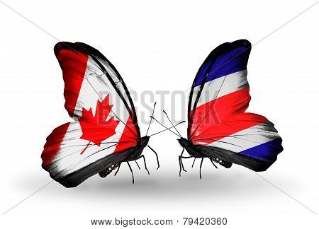 Two Butterflies With Flags On Wings As Symbol Of Relations Canada And Costa Rica
