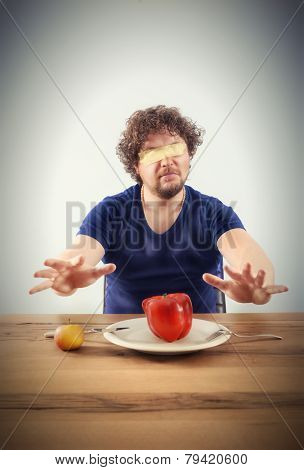 Blindfolded Man Wants To Taste Vegetables