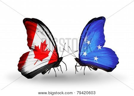 Two Butterflies With Flags On Wings As Symbol Of Relations Canada And Micronesia