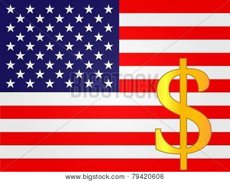 Dollar Currency Sign Over The United States Flag