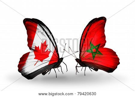 Two Butterflies With Flags On Wings As Symbol Of Relations Canada And Morocco
