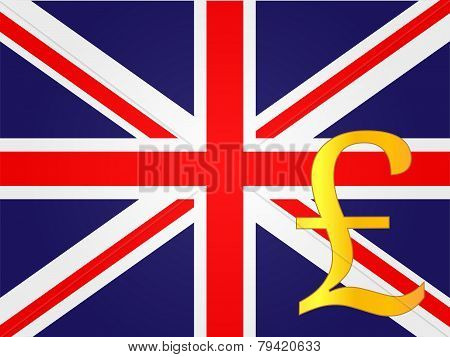 Pound Currency Sign Over The United Kingdom Flag