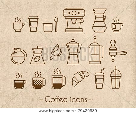 Coffee icons with craft
