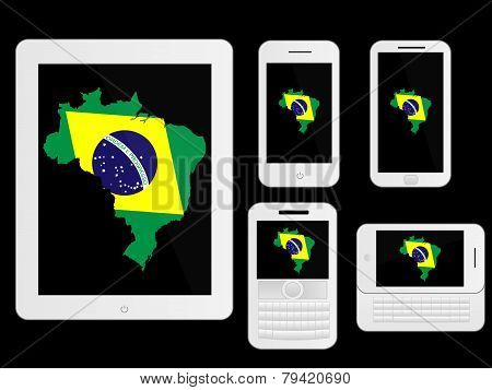 Mobile Devices With Brazilian Map White
