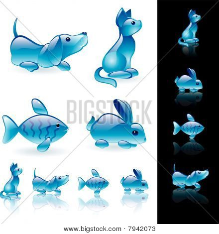 Animals crystal icon set