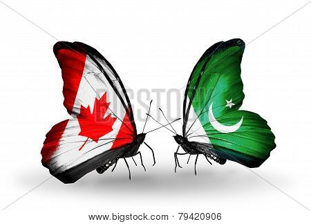 Two Butterflies With Flags On Wings As Symbol Of Relations Canada And Pakistan