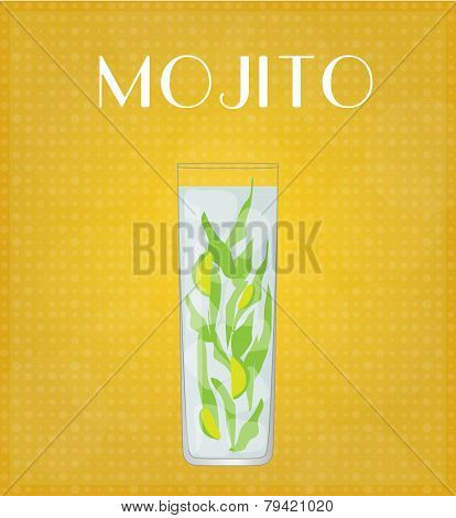 Drinks List Mojito With Golden Background