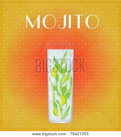Drinks List Mojito With Red & Golden Background