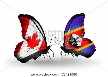Two Butterflies With Flags On Wings As Symbol Of Relations Canada And Swaziland