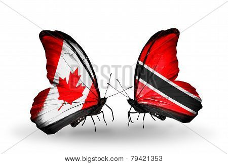 Two Butterflies With Flags On Wings As Symbol Of Relations Canada And Trinidad And Tobago