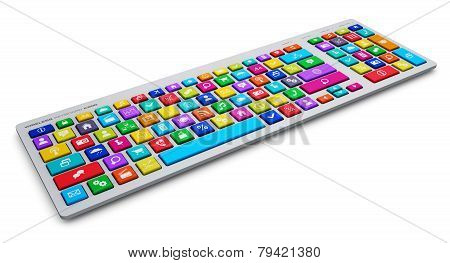 Computer keyboard with color social media keys