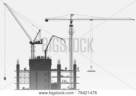 A Construction Site with Tower Cranes. Vector EPS 10