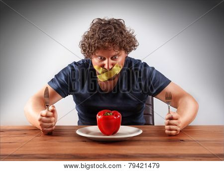 Gagged Man Wants To Eat