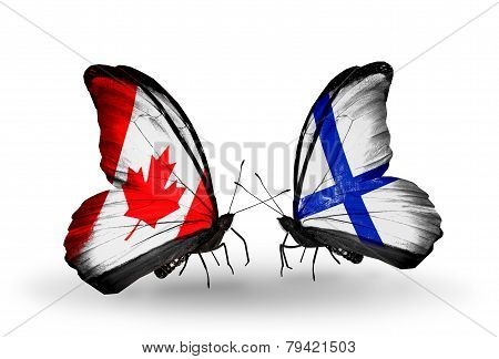 Two Butterflies With Flags On Wings As Symbol Of Relations Canada And Finland