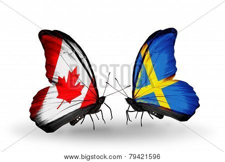 Two Butterflies With Flags On Wings As Symbol Of Relations Canada And Sweden