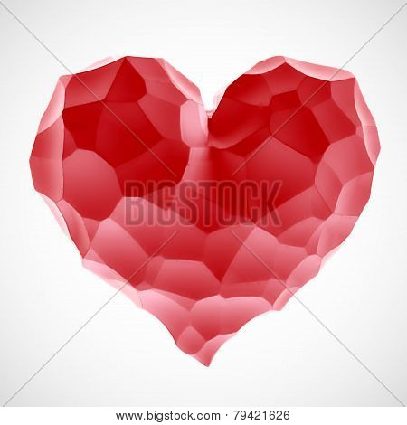 Red heart stone on Valentine's Day isolated white background