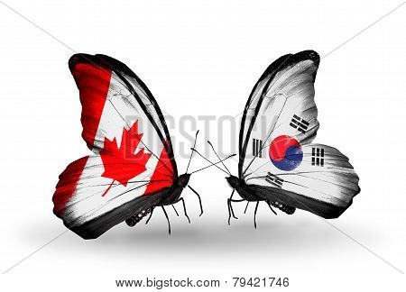 Two Butterflies With Flags On Wings As Symbol Of Relations Canada And South Korea