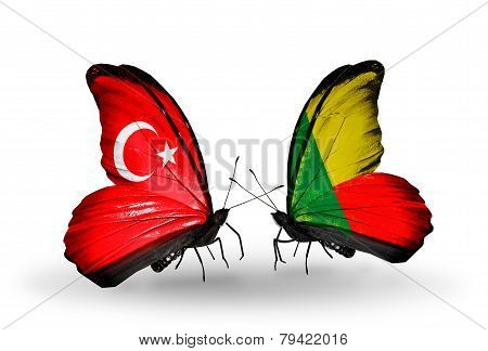 Two Butterflies With Flags On Wings As Symbol Of Relations Turkey And Benin