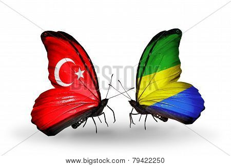 Two Butterflies With Flags On Wings As Symbol Of Relations Turkey And Gabon