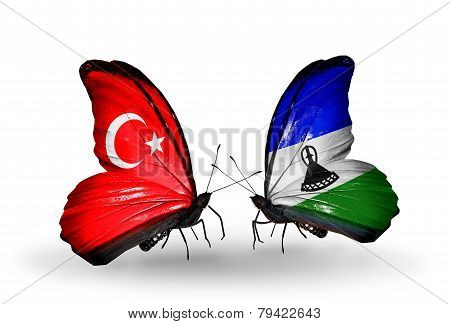 Two Butterflies With Flags On Wings As Symbol Of Relations Turkey And Lesotho