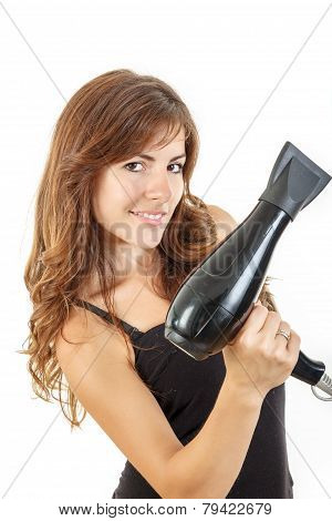Attractive Young Woman Holding Hairdryer