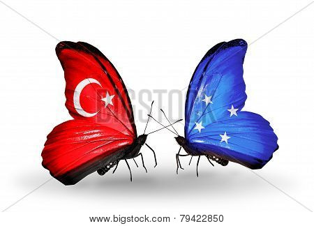 Two Butterflies With Flags On Wings As Symbol Of Relations Turkey And Micronesia