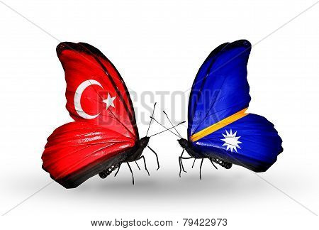 Two Butterflies With Flags On Wings As Symbol Of Relations Turkey And  Nauru