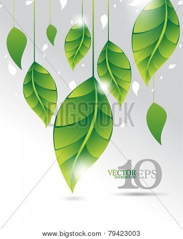 eps10 vector green leaf elements upside down ecology background design