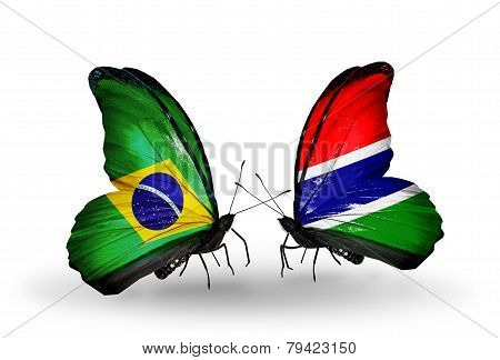 Two Butterflies With Flags On Wings As Symbol Of Relations Brazil And Gambia