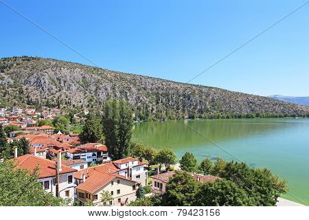 Stone Traditional Houses And Lake Orestiada In Kastoria City (epirus, Greece)