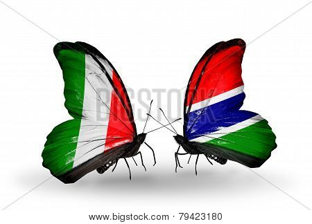 Two Butterflies With Flags On Wings As Symbol Of Relations Italy And Gambia