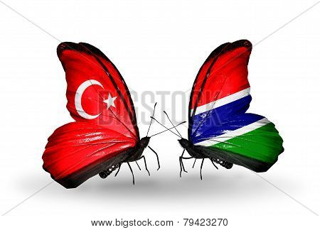 Two Butterflies With Flags On Wings As Symbol Of Relations Turkey And Gambia