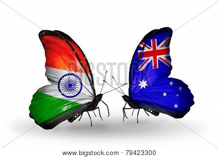 Two Butterflies With Flags On Wings As Symbol Of Relations India And Australia
