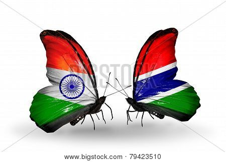 Two Butterflies With Flags On Wings As Symbol Of Relations India And Gambia