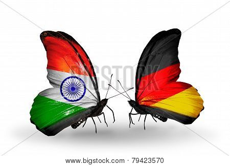 Two Butterflies With Flags On Wings As Symbol Of Relations India And Germany