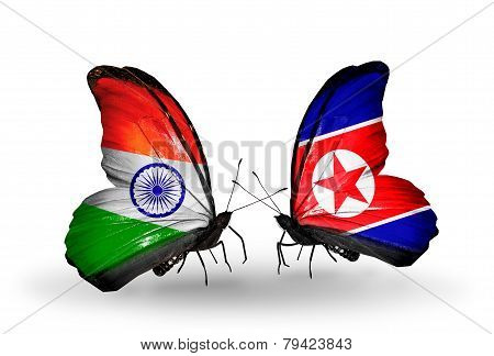 Two Butterflies With Flags On Wings As Symbol Of Relations India And North Korea